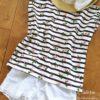 小花ボーダーのフレンチTシャツ